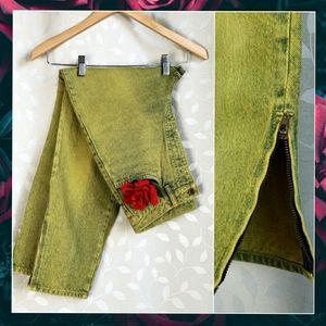 Vintage 80s High Rise Neon Yellow Acid Wash Jeans